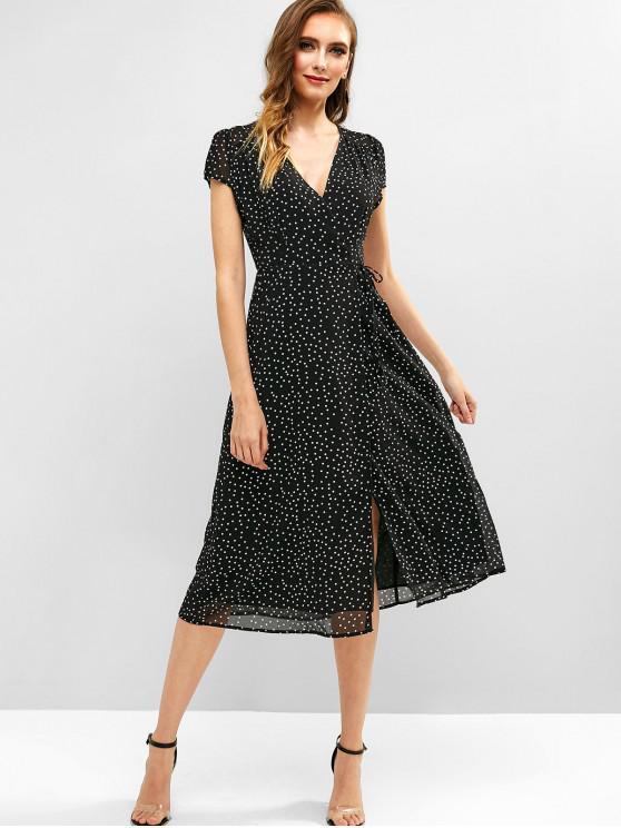 women Cap Sleeve Dots Wrap Midi Dress - BLACK S
