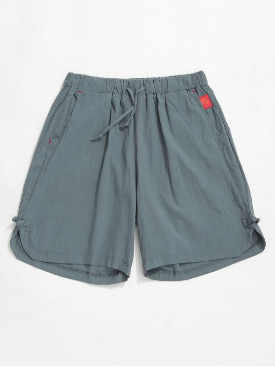 hot Solid Color Applique Casual Shorts - GRAYISH TURQUOISE S