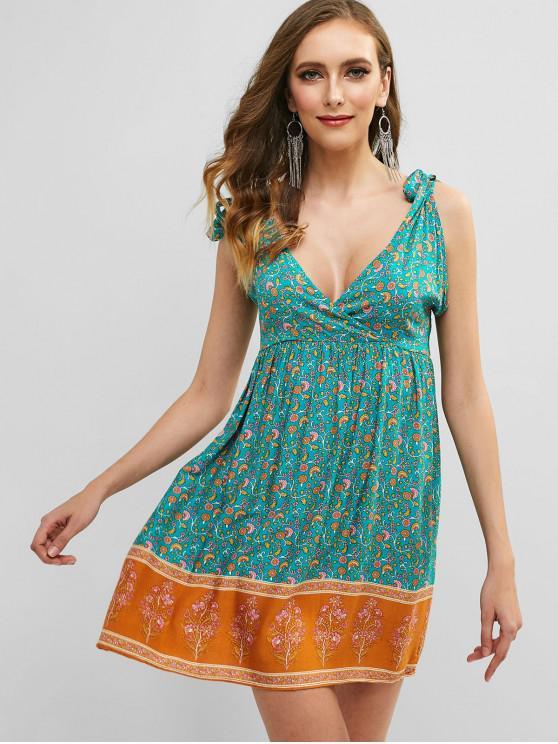 women's Tie Bohemian Printed Dress - MACAW BLUE GREEN L