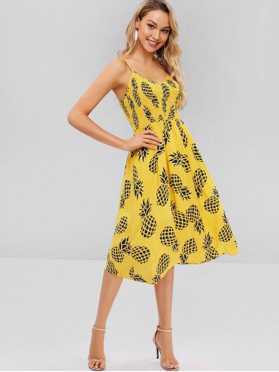 outfit ZAFUL Cami Printed Smocked Midi Dress - CORN YELLOW S
