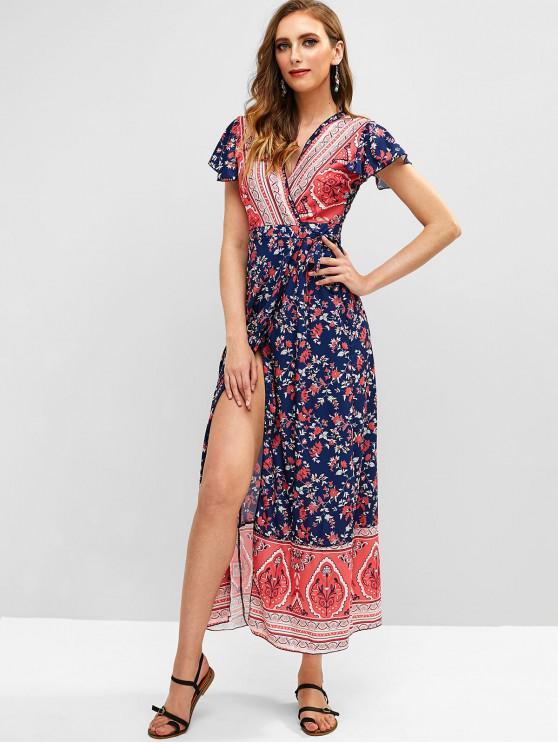 women V Neck Flower Print Wrap Dress - MULTI S