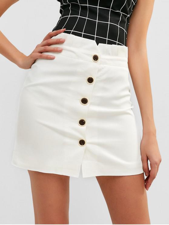 Falda lisa con botones de cintura alta - Blanco XL