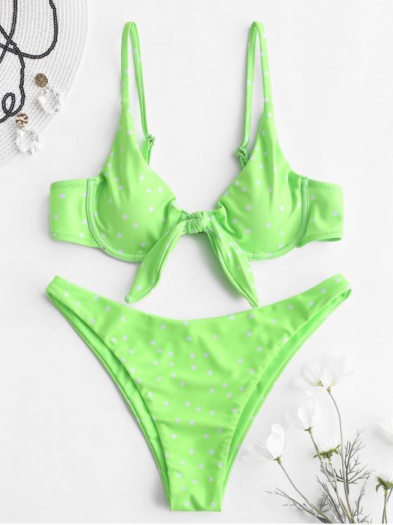 best ZAFUL Polka Dot Underwire Neon Bikini Set - GREEN YELLOW L