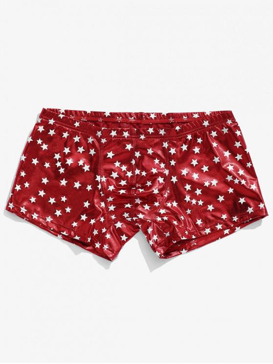 women Star Print Metallic Brief Shorts - LAVA RED XL