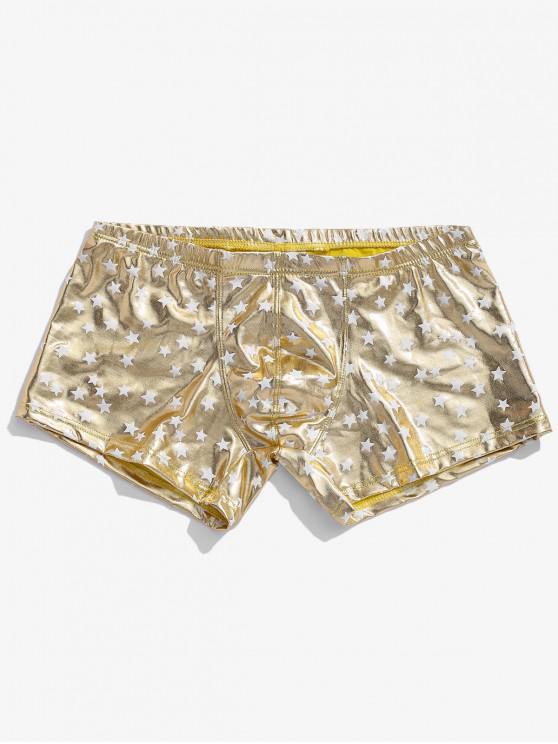 best Star Print Metallic Brief Shorts - CHAMPAGNE GOLD M