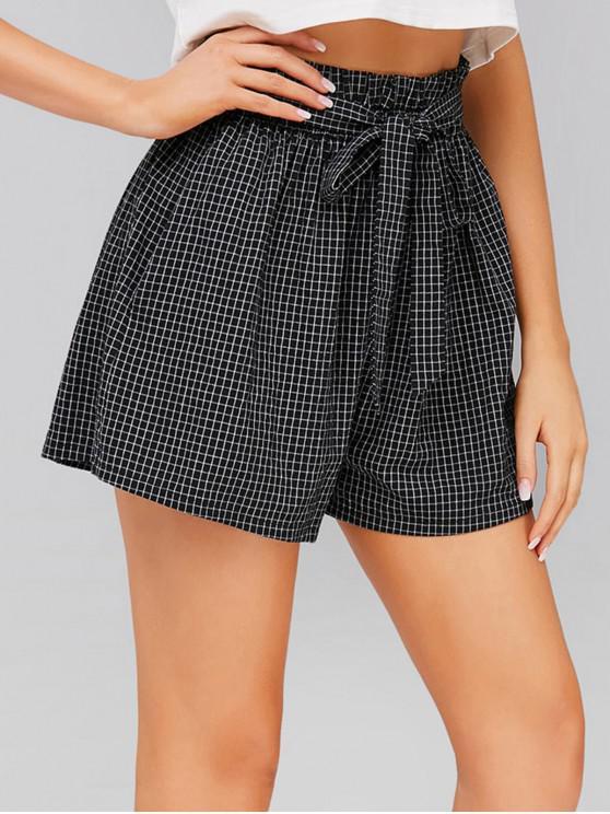 shop ZAFUL High Rise Belted Plaid Shorts - BLACK S