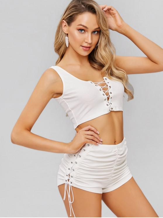 buy ZAFUL Lace-up Crop Knit Top and Shorts Set - MILK WHITE L