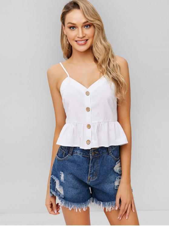 chic ZAFUL Ruffles Button Up Cami Top - WHITE L