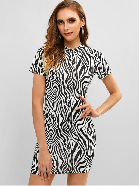 women ZAFUL Zebra Crew Neck Mini Fitted Dress - BLACK S