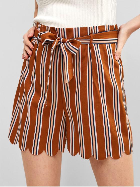 online Scalloped Striped Shorts - TIGER ORANGE S