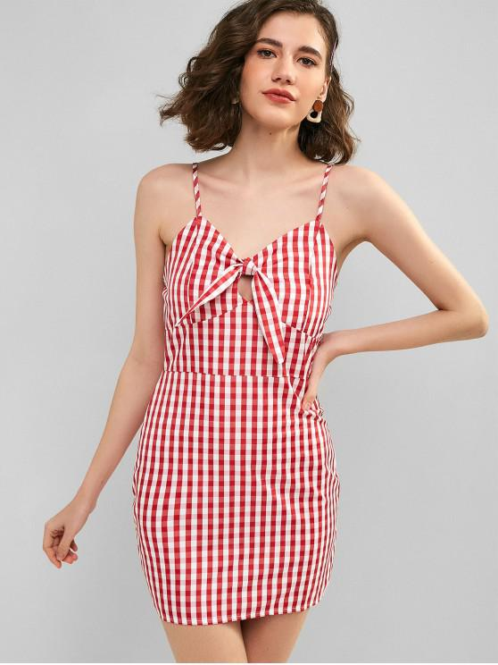 outfits Hollow Out Knotted Plaid Cami Dress - RED M