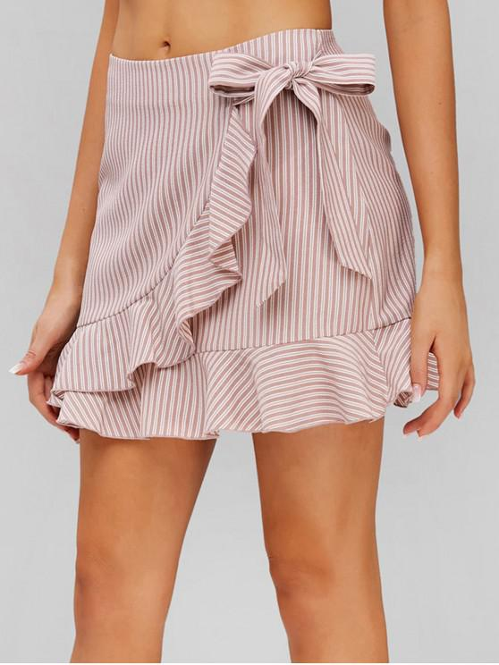 women's ZAFUL Ruffle Knot Striped Skirt - LIGHT PINK S