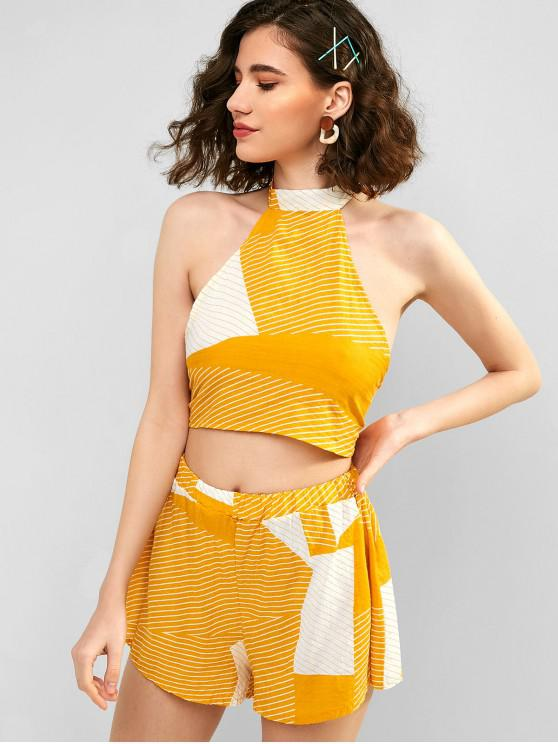 unique Striped Knotted Top and Loose Shorts Set - SUN YELLOW L