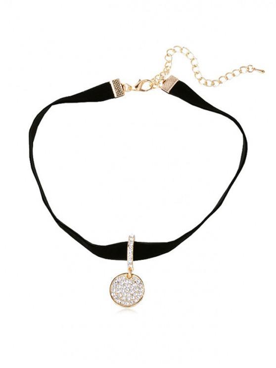 trendy Rhinestone Round Pendant Choker Necklace - BLACK