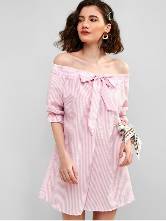 chic ZAFUL Tie Front Stripes Off Shoulder Dress - PIG PINK L