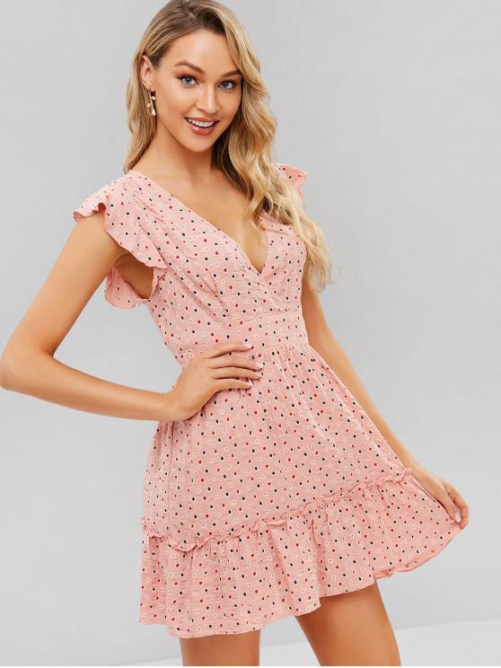 affordable ZAFUL Dotted Ruffles Surplice Mini Dress - PINK S