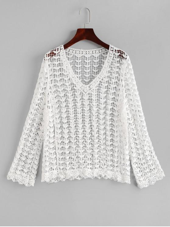 best Long Sleeve Crochet Cover-up - WHITE ONE SIZE