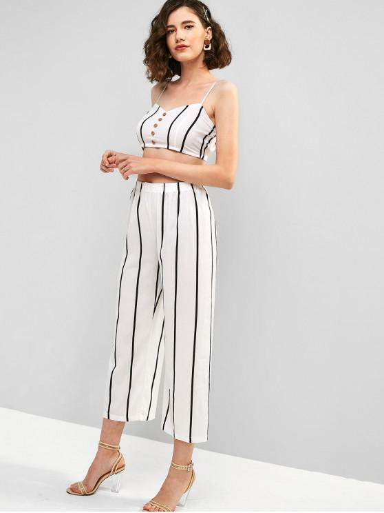 hot Buttons Striped Cami Top and Loose Pants Set - WHITE S