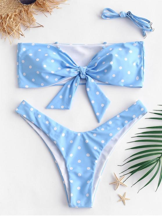 chic ZAFUL Knot Bandeau Polka Dot Bikini Set - DAY SKY BLUE S