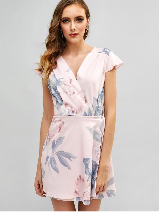 Robe Enveloppée Fleurie Imprimée à Mancherons - Rose  S