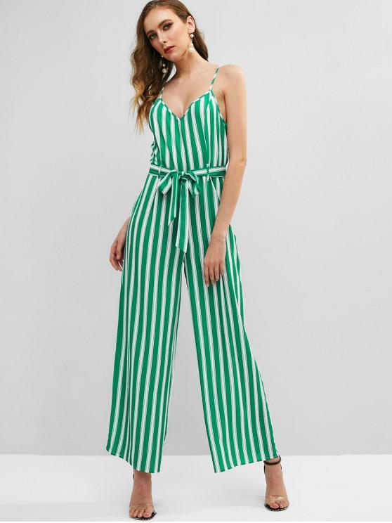 shops Striped Cami Wide Leg Jumpsuit - GREEN S