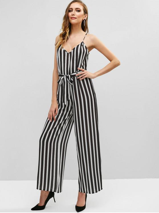 trendy Striped Cami Wide Leg Jumpsuit - BLACK L