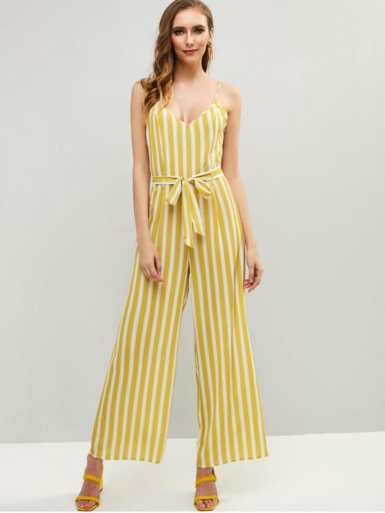 trendy Striped Cami Wide Leg Jumpsuit - YELLOW S