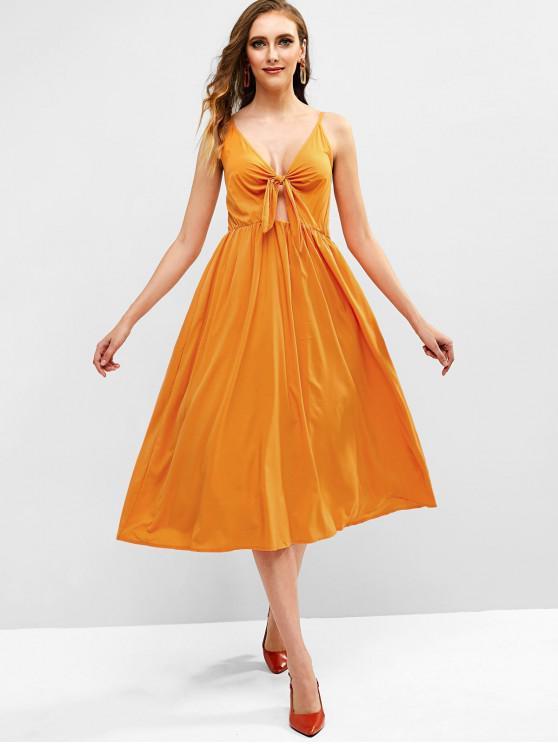 Robe Mi-Longue Simple à Bretelle Nouée en Avant - Jaune d'Abeille M