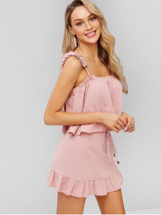shop ZAFUL Slit Top And Ruffles Skirt Set - PINK M