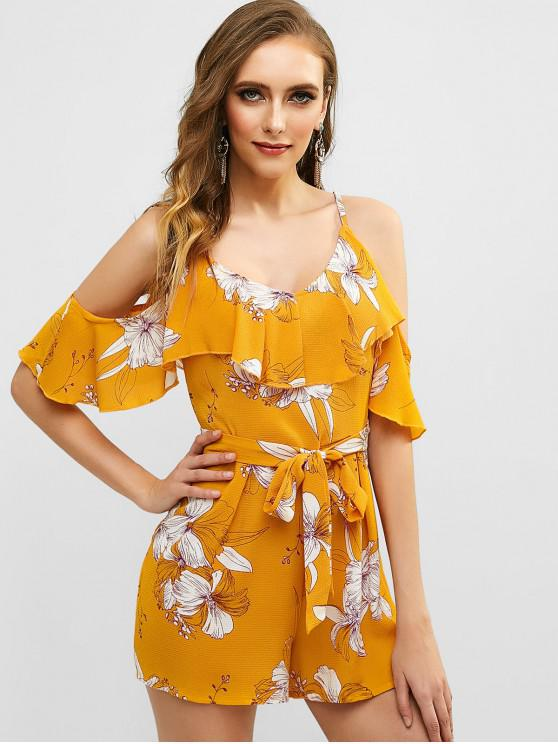 trendy Floral Print Flounce Belted Wide Leg Romper - BEE YELLOW M