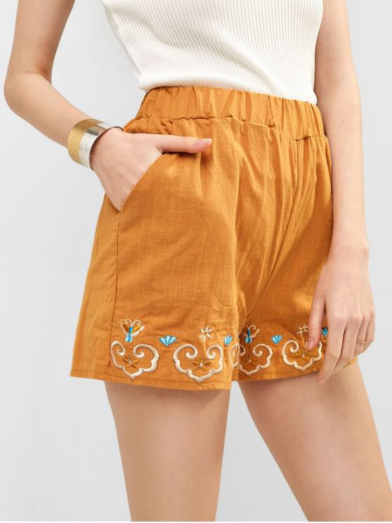 buy Embroidered Shorts - ORANGE GOLD M