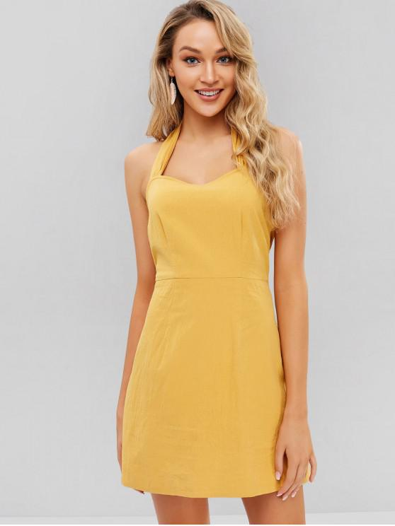 lady ZAFUL A Line Halter Dress - BEE YELLOW L
