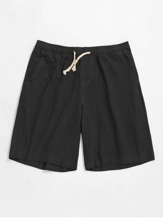 buy Elastic Solid Color Drawstring Shorts - BLACK XS