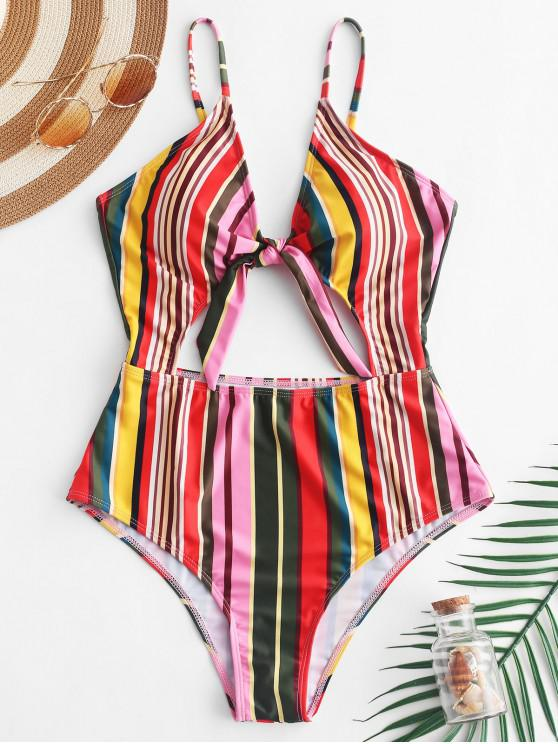 women's ZAFUL Knot Cutout Colorful Striped Swimsuit - MULTI-A M