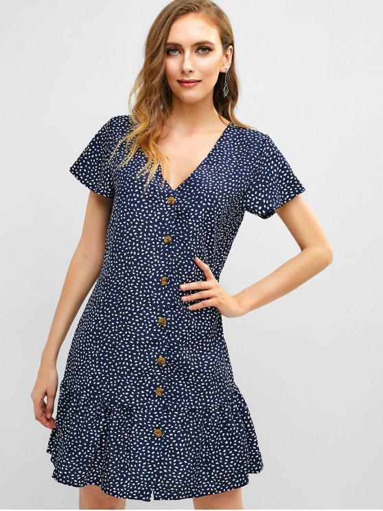 fancy V Neck Water Drop Print Flare Dress - DEEP BLUE M