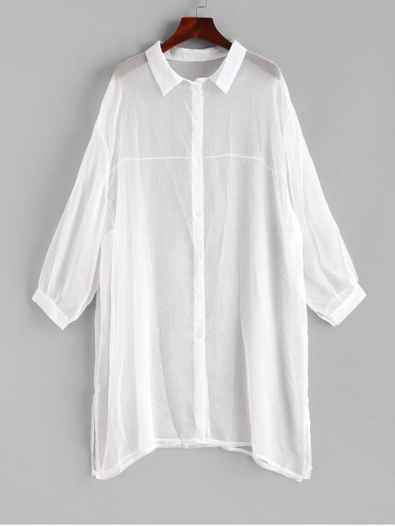 ladies Sheer Cover-up Shirt - WHITE L