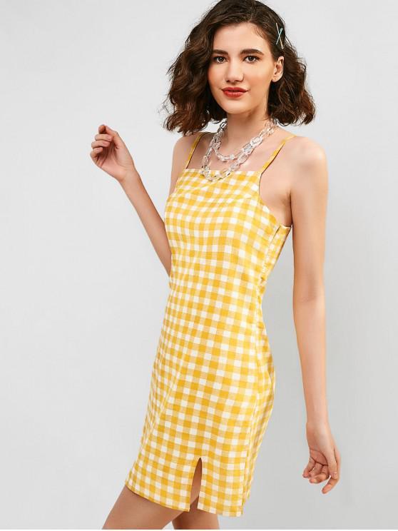 best ZAFUL Slit Plaid Cami Dress - MUSTARD L