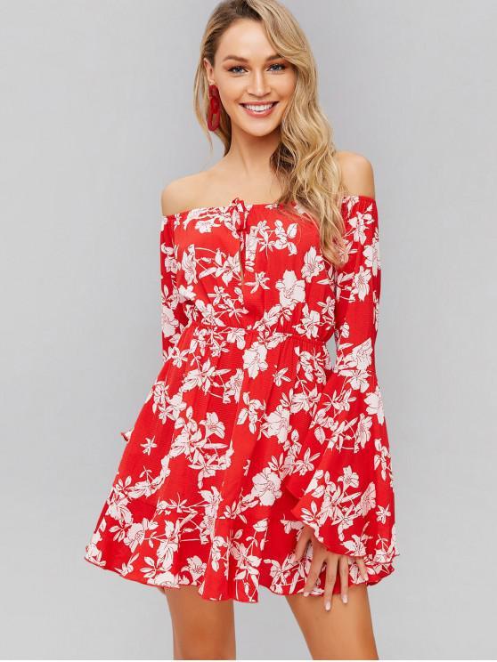 chic ZAFUL Flower Off Shoulder Flare Sleeve Dress - RED L
