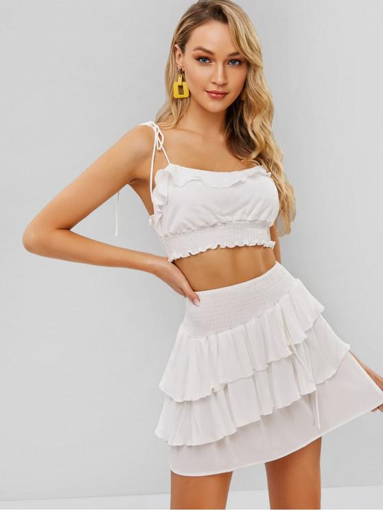 trendy ZAFUL Smocked Cami Top and Layered Skirt Set - WHITE M