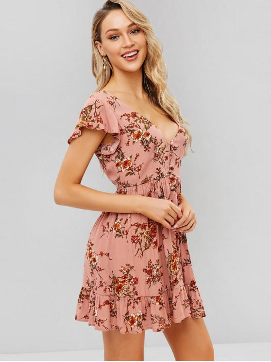online ZAFUL Button Up Floral A Line Dress - PINK S