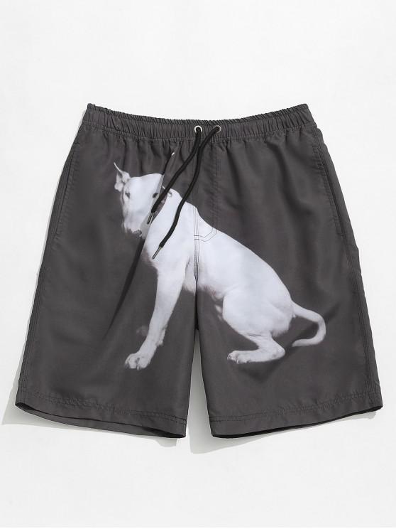 Shorts casuales de animal print - Negro L