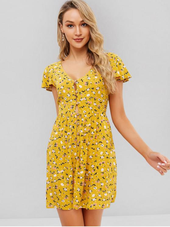unique ZAFUL Floral Print Buttoned A Line Dress - BEE YELLOW XL