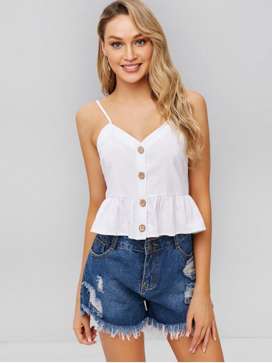 womens ZAFUL Ruffles Button Up Cami Top - WHITE M
