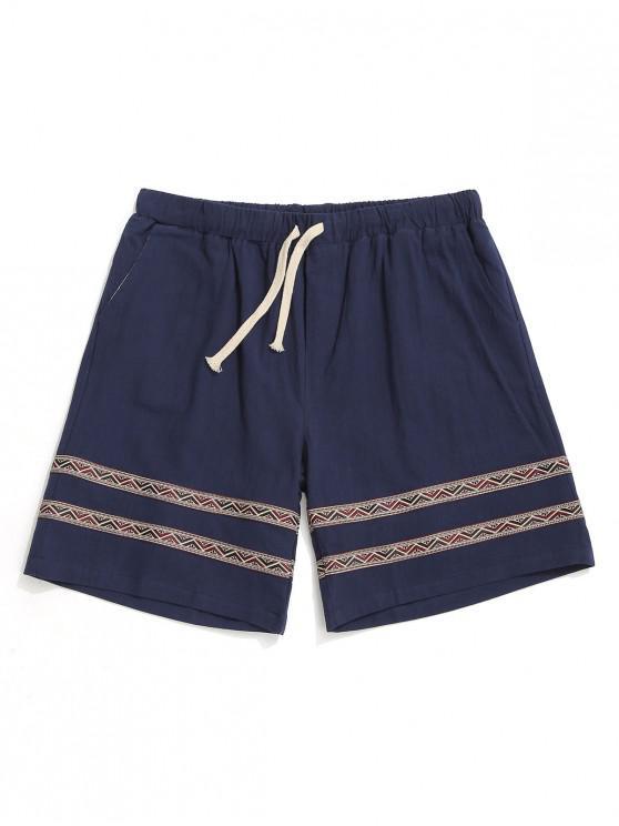 online Tribal Print Splicing Casual Shorts - DARK SLATE BLUE M