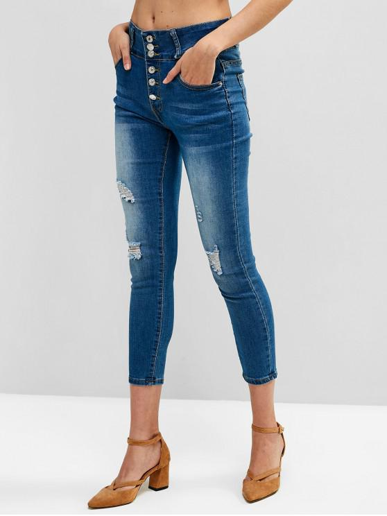 trendy Ripped Button Fly Skinny Pocket Jeans - SILK BLUE M