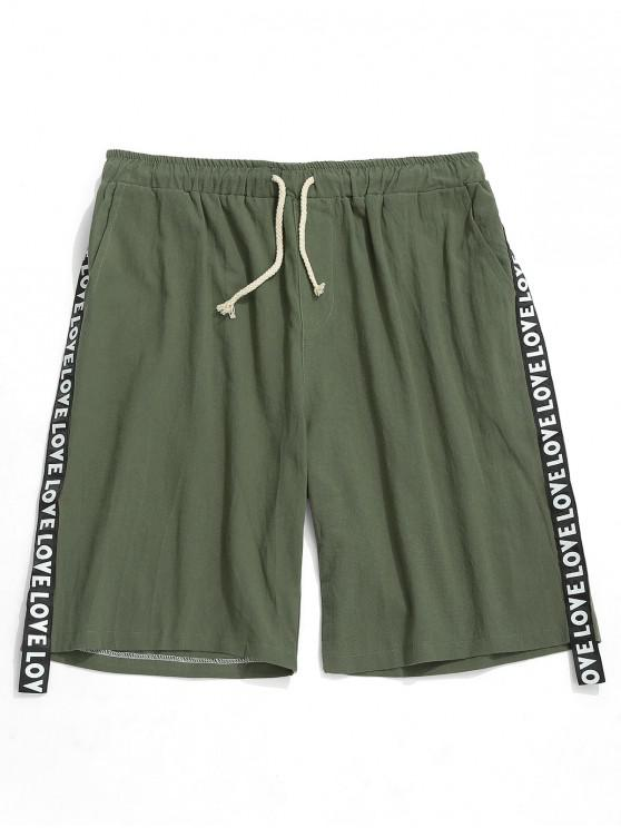 online Letters Print Ribbon Solid Color Shorts - ARMY GREEN S