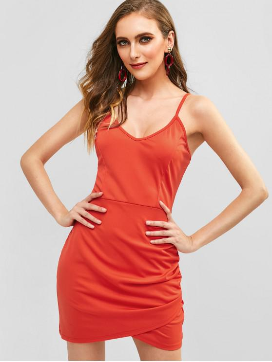 Überlappendes, figurbetontes Cami-Kleid - Rot S