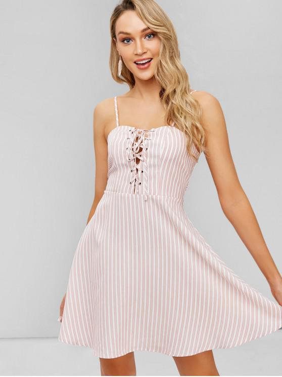 outfit ZAFUL Cami Striped Lace-up Mini Dress - PINK S