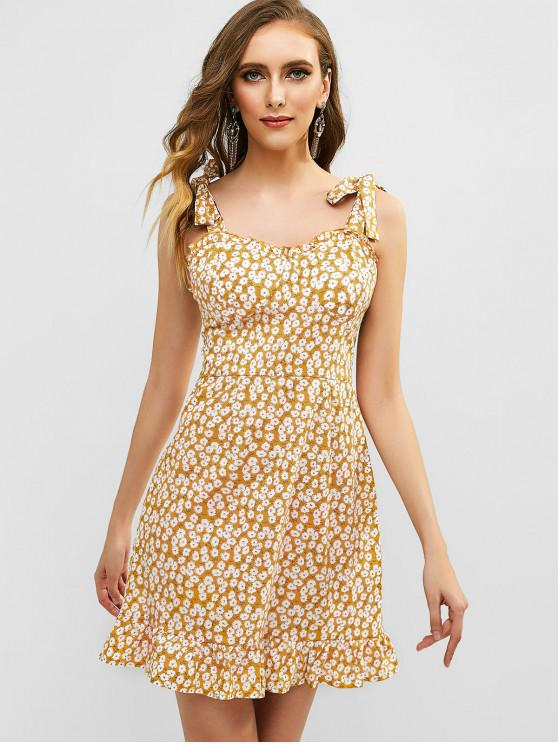 shops Tied Straps Smocked Ruffles Floral Dress - YELLOW S