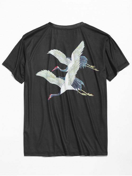 fashion Flying Cranes Print Casual T-shirt - BLACK XL